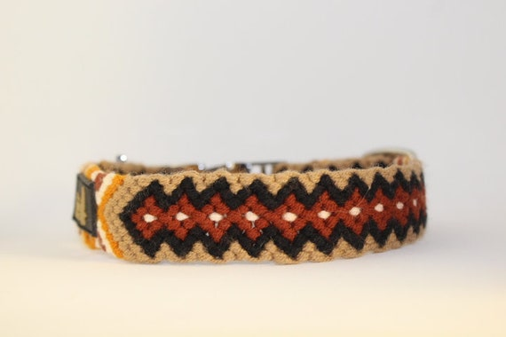 Handmade Macrame Dog Collars: Small and Medium Brown, black, white, ochre & orange