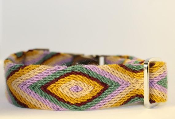 Handmade Osonuchi Dog Collars: Medium Lilac, green, cream, burgundy & yellow