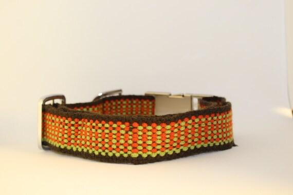 Handmade Plano Dog Collars: Large/XL brown, lime & orange