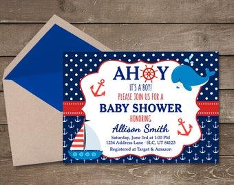 Nautical Baby Shower Invitation Ahoy Its A Boy Navy
