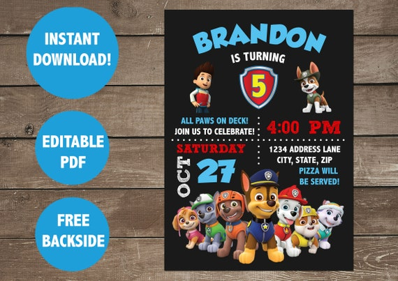 Paw Patrol Birthday Invitation Boy Invitations