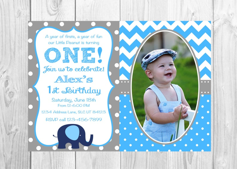 Elephant Birthday Invitation Blue