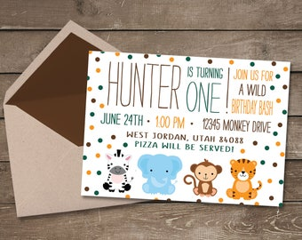 Safari Birthday Invitation, Jungle Birthday Invitation, Zoo Birthday Invitation, Zoo Invitation, Zoo Animal Birthday, Jungle Invitation