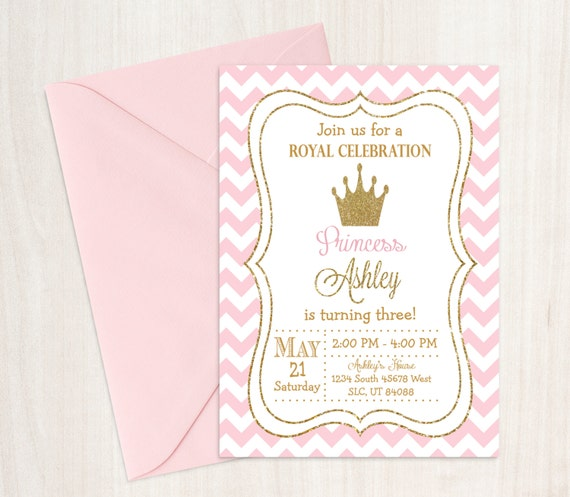 princess birthday invitation princess invitation pink and etsy