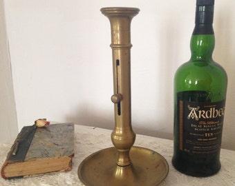 Large vintage French large brass adjustable candlestick, large brass push up candlestick, brass candleholder