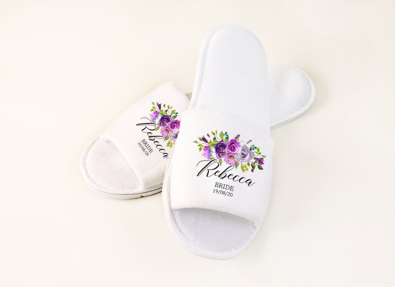 cfa453fd2d267 Personalised Wedding Slippers, Bridesmaid Gift for Bridal Party Slippers,  Printed Floral Slippers, Custom Hen Party Gift Ideas, Hen Weekend