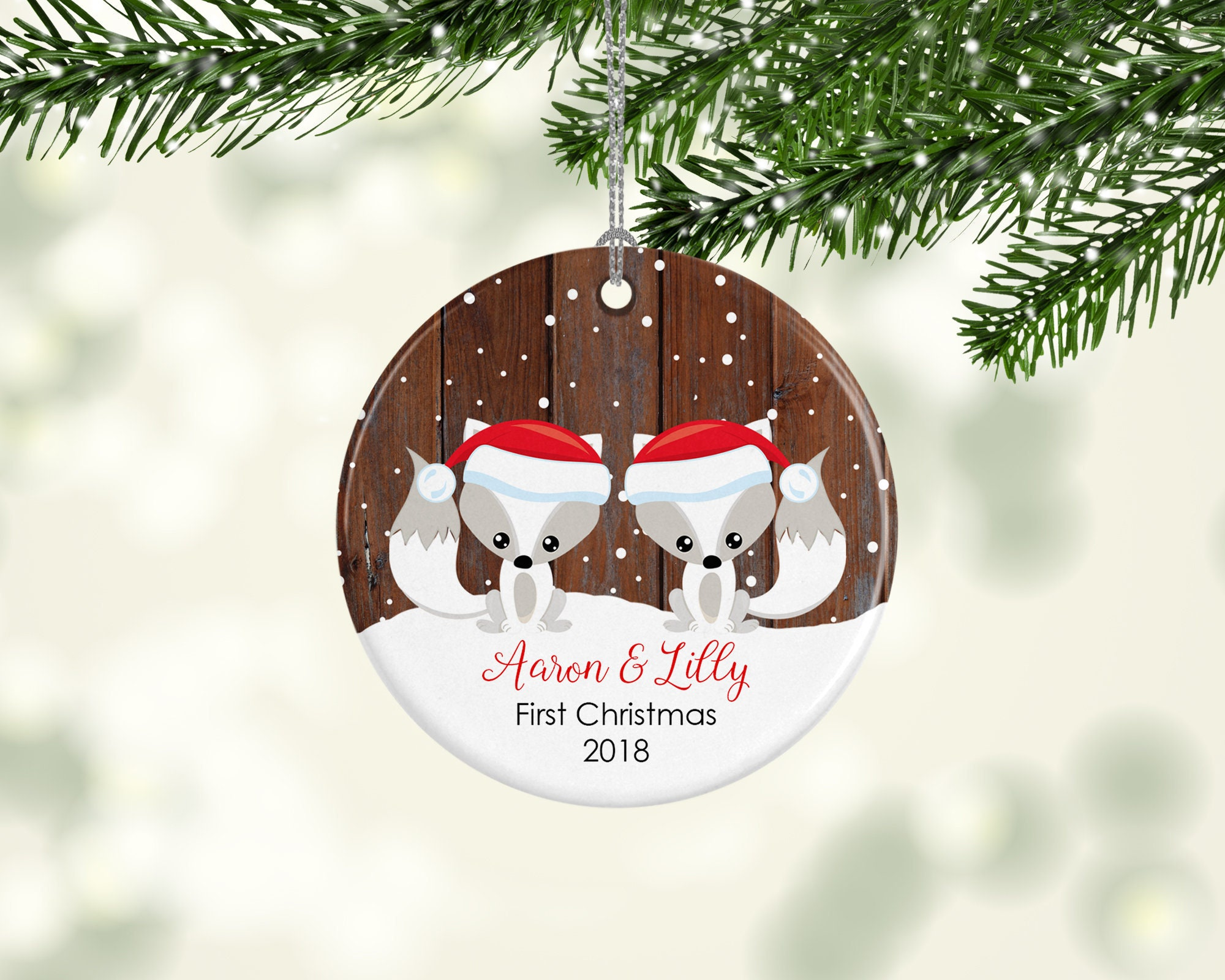 Twin Babies First Christmas Ornament Personalised Christmas