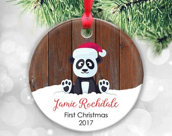 Baby's First Christmas Ornament, Panda Bear Ornament, Baby Boy or Girl Baby Ornament Personalised Christmas Ornament Babys 1st Christmas