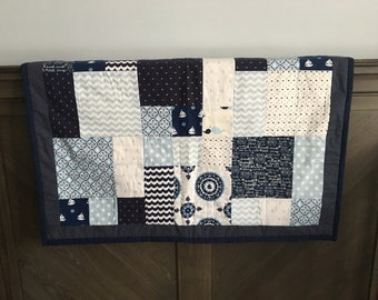 Baby Quilt nautical with light blue polka dot cotton backing