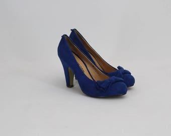 90s • Vintage • Blue Suede Shoes • Elegant Shoes • High Heel Shoes • Party Blue Schoes • Suede Shoes • Women's Shoes • US 6 • UK 4 • EU 36