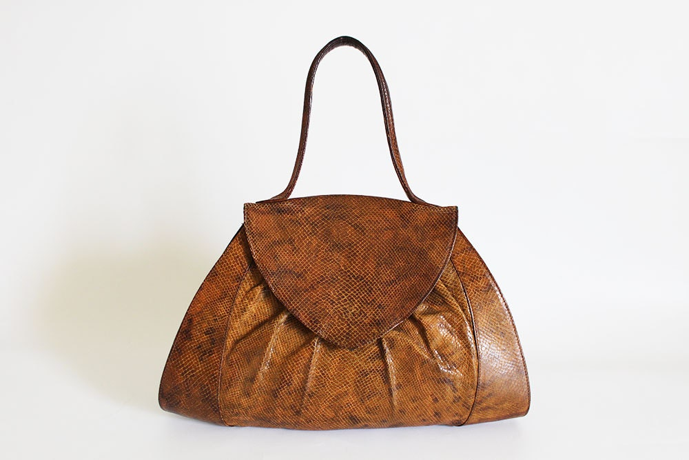 ce00d16952 70s Vintage Handbag Leather Bag Top Handle Bag Brown | Etsy