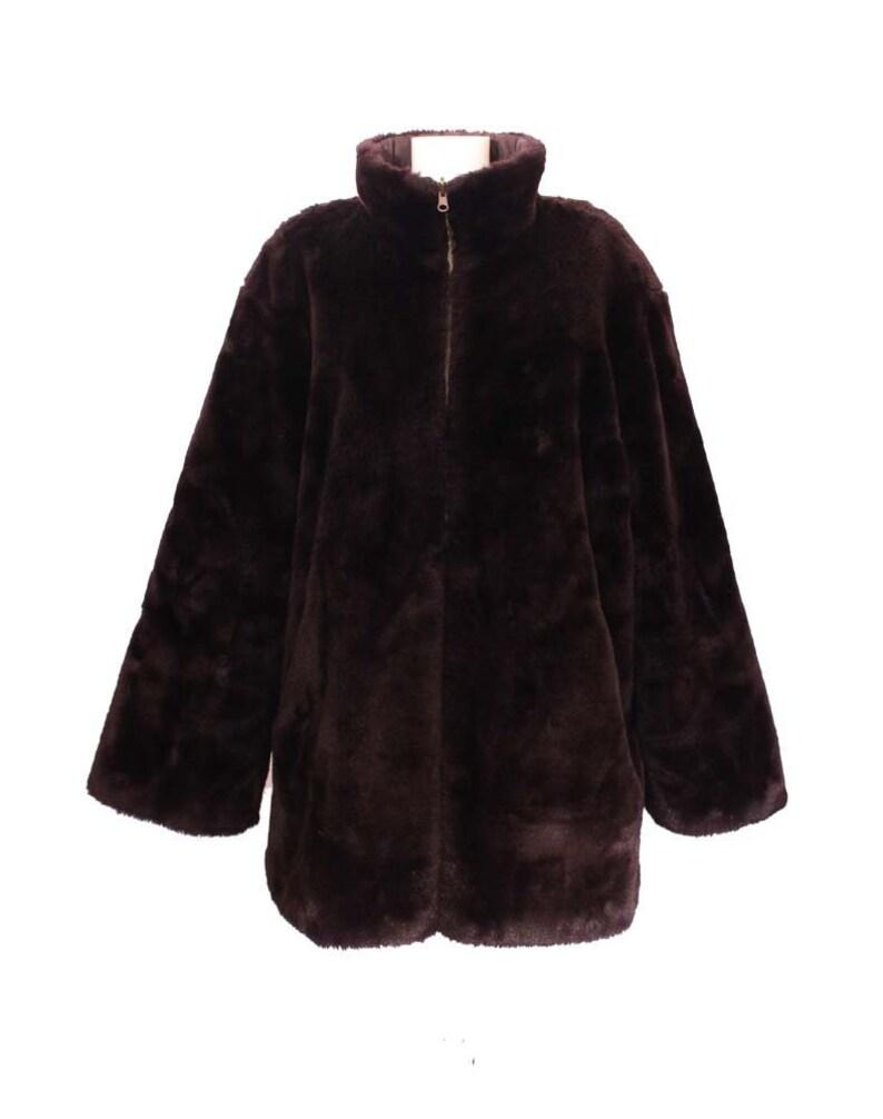 dac969fab2d Vintage Faux Fur Coat • Women's Jacket • Fake Fur Coat • Winter Coat •  Women's Dark Brown Fur Jacket • Teddy Bear Coat • Women's Brown Coat