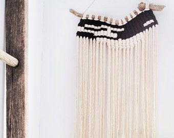 Modern Black+White Macrame Wall Hanging