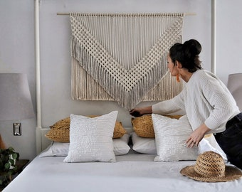 macrame wall hanging  large  modern  minimal  fibre tapestry  woven wall art  geometric design  contemporary macrame  over bed  rope art