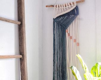 macrame wall hanging  modern fibre tapestry  woven wall art  geometric design  contemporary macrame  minimal  rope art