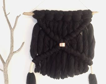 "Macrame Wall Hanging ""Black Sheep"""