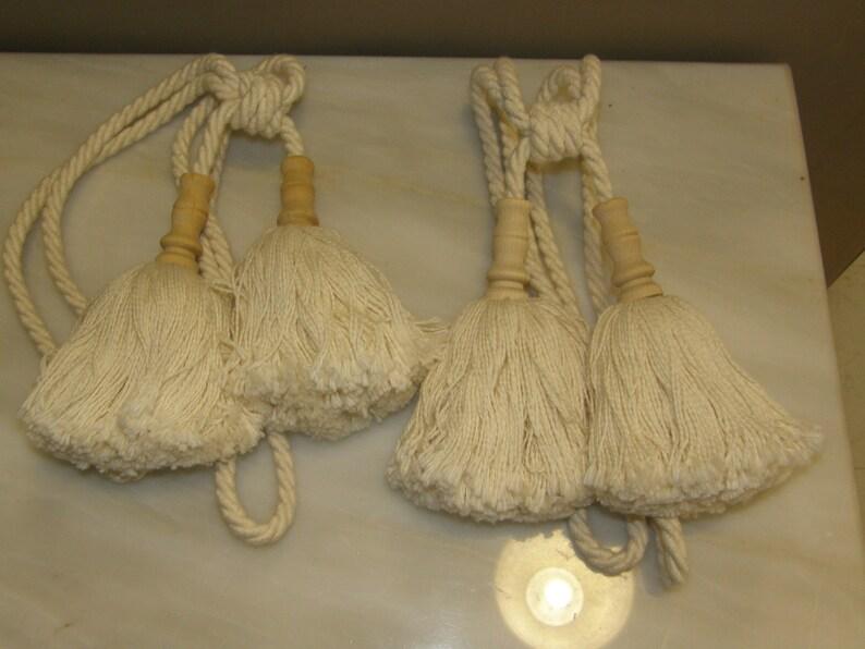 Luxury Large Double Tassel Tiebacks Cotton Wood Curtains Holdbacks Tassel Voile Cotton Wood Drapes Tie Back Hold Back