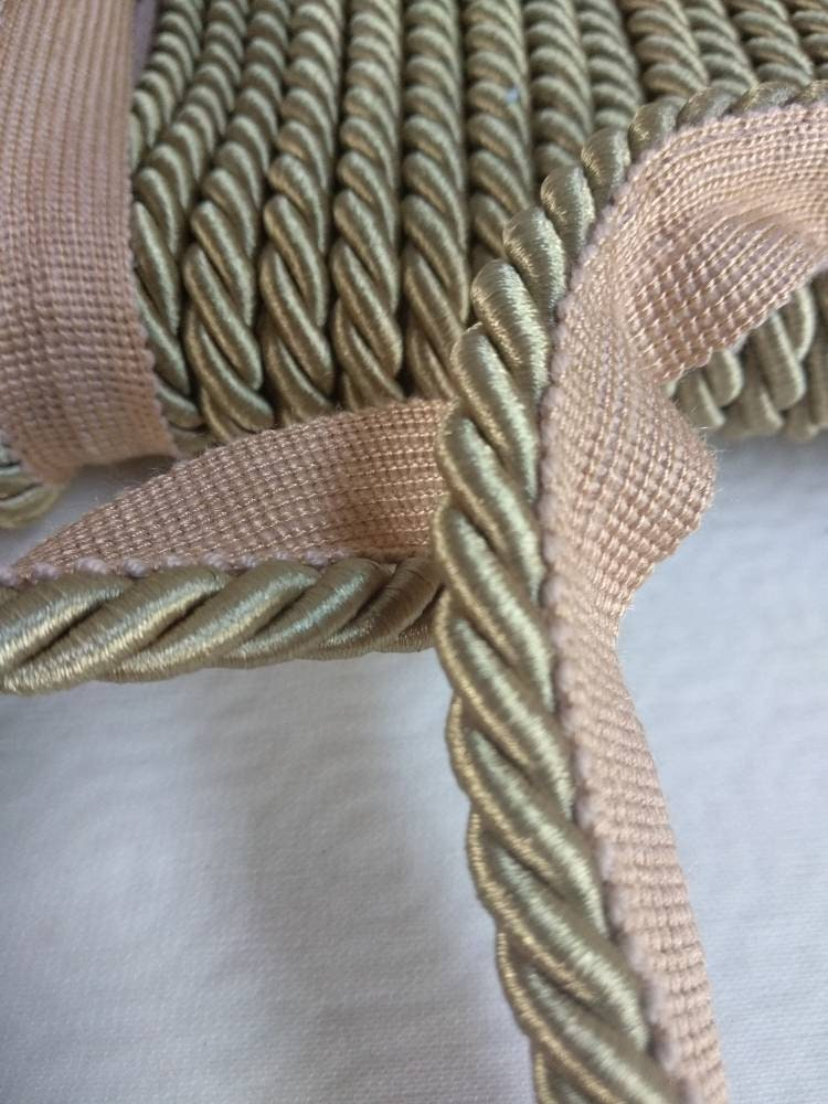 Beige Gold Flanged Piping Cord Trim Fringe|1cm thick|Upholstery Piping Cord Fringe Trimmings-Cushions Flanged Piped Cord trim fringe decor