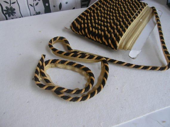 Chenille dunkel braun gelbe Flansch Piping Cord Fransen Borten | 1 cm dick | Kissen Polster Fransen Borte Flansch Paspel Schnur