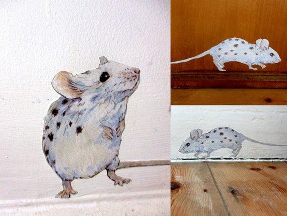 Wall sticker mice kitchen wall decals Royal Tenenbaums   Etsy