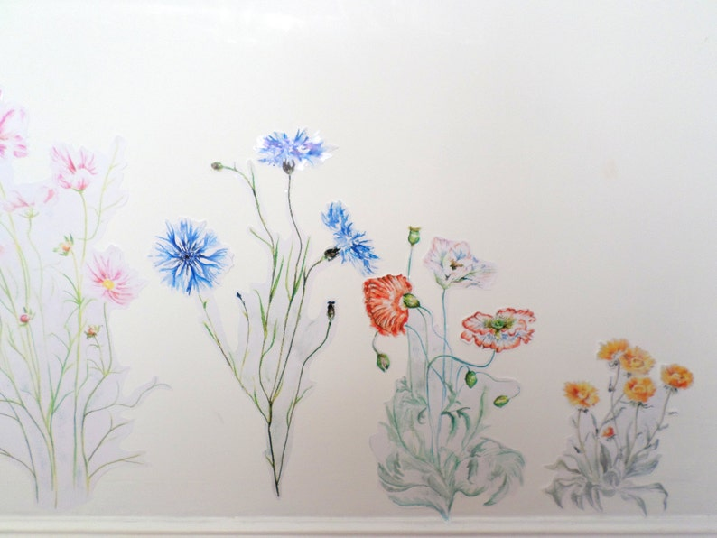 wildflower decals Floral wall decals girls decals floral wall stickers meadow home decor floral home decor