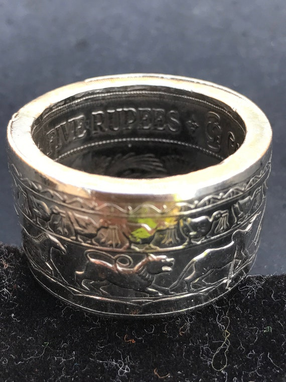 Buddha's Silver Recovery Ring Handcrafted from a 1957 Ceylon 5 Rupee Silver Crown Coin