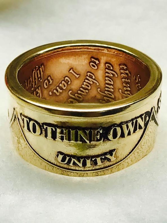"AA Ring ""To Thine Own Self Be True"" Recovery Ring; Handcrafted from Sobriety Medallion's Custom , Made to Order by a Person in Recovery"