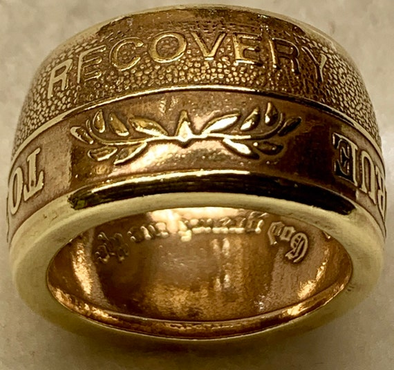 "Vintage ""To Thine Own Self Be True"" Sobriety Medallion Handcrafted into a Recovery Ring!"