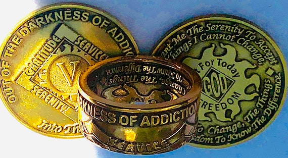 Out of The Darkness of Addiction/Into the Light ~ Serenity Prayer ~ Recovery Ring
