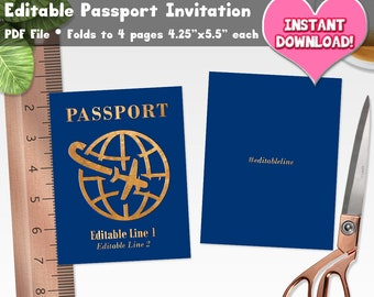 Editable Passport Invitation PDF File Instant Download Travel Theme Destination Party Event Birthday Shower Wedding Template