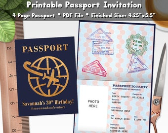 Passport invites etsy passport invitation printable pdf personalized travel destination birthday party shower invite filmwisefo
