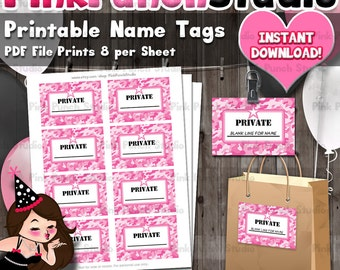 diy printable pink army camo military name tags id badges party favor pdf file instant download fits avery template 5395