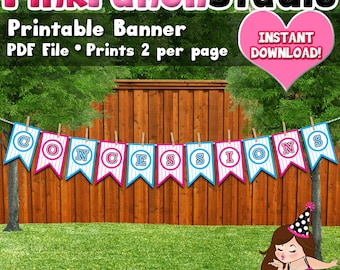 Baseball Concessions Gender Reveal Party Banner Printable Pdf Files INSTANT DOWNLOAD Pink Blue Pennant Flag Pinstripe Sports
