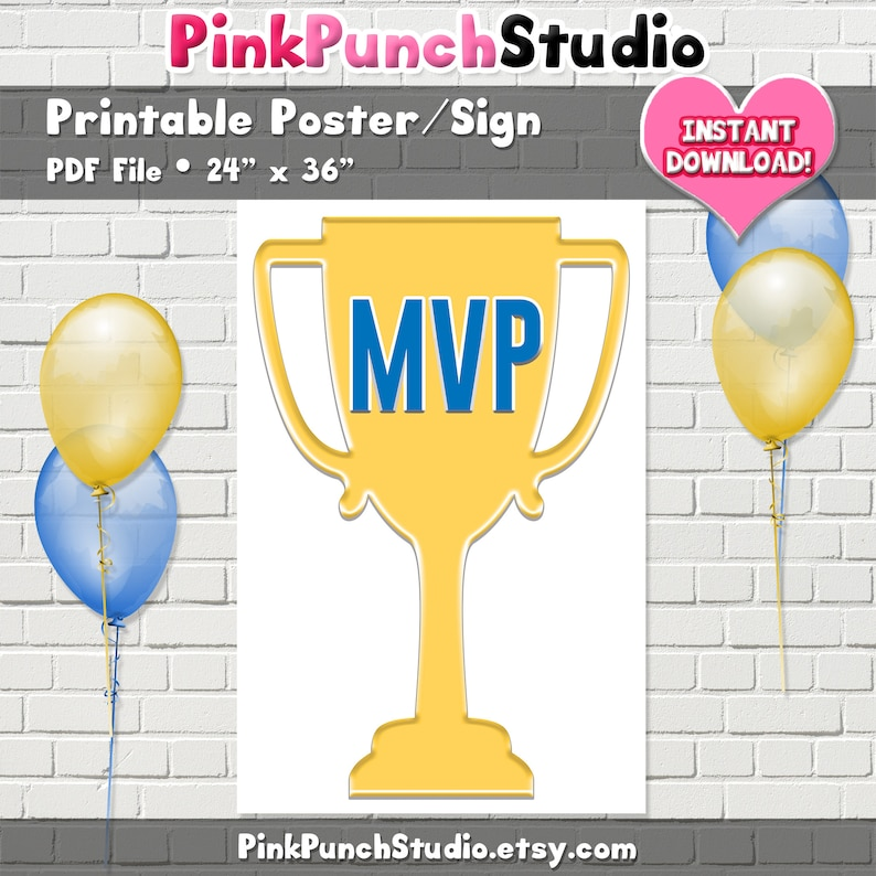Printable Most Valuable Player MVP Trophy Poster PDF File Birthday Party Sports Sign Athletic School Football Baseball Soccer Team Ministry