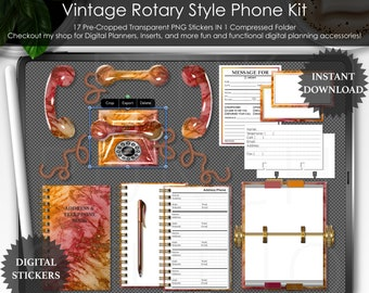 Fall Holo Marble Vintage Rotary Phone Kit Digital Planner Planning PNG Stickers Scrapbooking ClipArt Desk Mockup Scene Creator Goodnotes