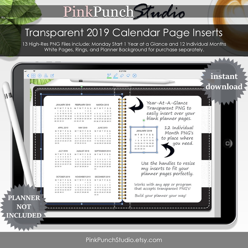 2019 Monday Start Transparent Calendar PNG Files DIY Planner Year at a  Glance 12 Individual Months Clipart Digital Scrapbooking Memory Book