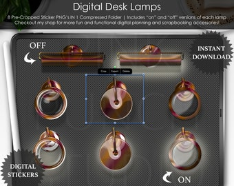 """Fall Holo """"Glass"""" Lamps Top View Desk Mockup Digital Planner Planning Precropped Transparent PNG Scrapbooking Clip Art Stickers Accessories"""