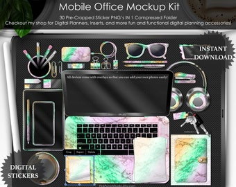 Pastel Halloween Holo Marble Mobile Office Mockup Kit PNG Planner Stickers Planning Cropped Scrapbooking ClipArt Top View Desk Scene Creator