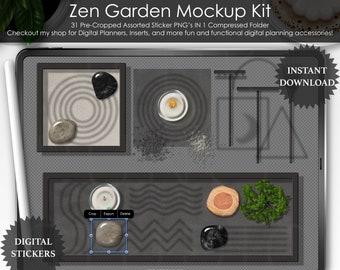 Black Elemental Zen Garden Kit Mockup Kit Top View Precropped PNG Scrapbooking ClipArt Stickers Desk Scene Creator Digital Planner Planning