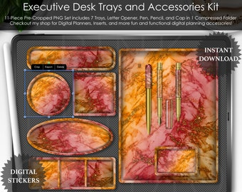 Fall Holo Marble Executive Desk Trays and Accessories Set PNG Stickers Planner Planning Scrapbooking Clipart Desk Scene Mockup GoodNotes