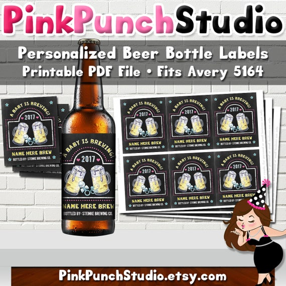Personalized Printable Beer Bottle Label Baby Brewing IPA PDF File Fits  Avery 5164