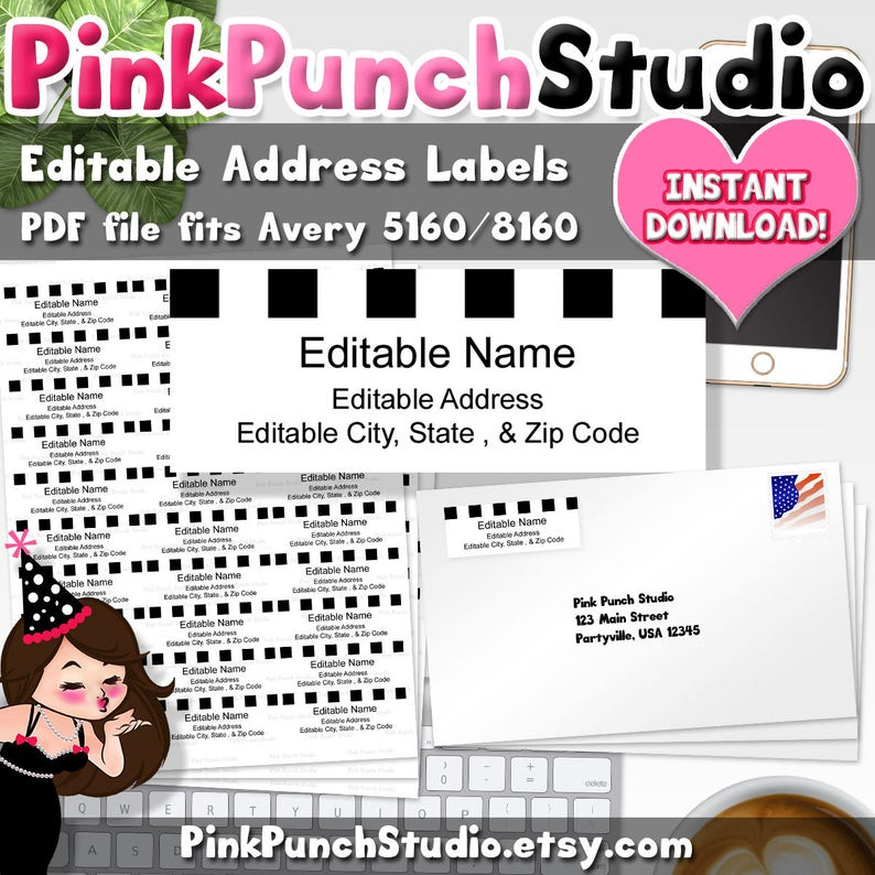 Editable Address Labels Adobe PDF File Fits Avery 5160 8160 Instant  Download Shipping Mailing Return