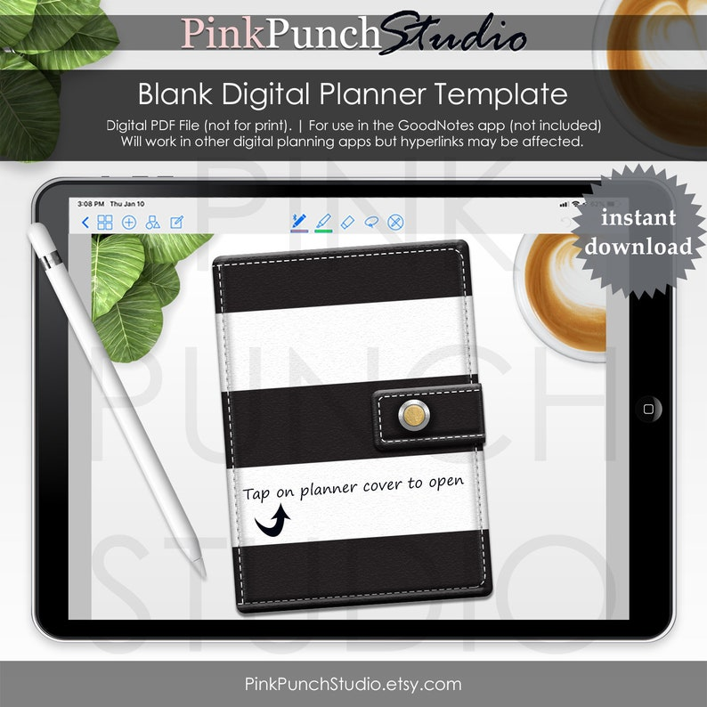 Black and White Gold Rings Tabs Digital Planner Template Blank Pages  Functioning Clickable Hyperlinked Tabs PDF File GoodNotes iPad Tablet