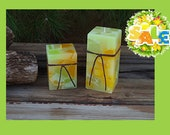 spring candles, Easter decorations, spring decorations,Pillar candle, house warming gift, chunk pillar, Stars and Clovers, clovers, flowers