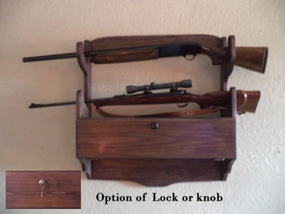 BEAUTIFUL HANDCRAFTED OAK WOOD WALL MOUNT SINGLE GUN RACK FOR A RIFLE OR SHOTGUN