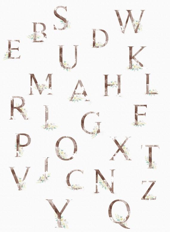 Clip Art Alphabet Alphabet Letters Png Upper Case Digital Alphabet Wedding Monogram Logo Design Digital Letters