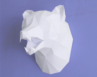 White to brown bear head trophy