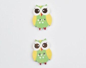 2 Yellow Owls Buttons - Cute Wooden Button - Scrapbook Button - Yellow Button - Notions, Embellishment, Craft Supplies, Flat Back Buttons