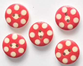 Red Polka Dot Button Sewing Notion - 15 mm Button - 2 Hole Button - Half Inch Button - Wood Button - Painted Button Craft Scrapbooking