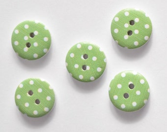 Green Polka Dot Button - Craft Buttons - Sewing Button - Painted Buttons for Scrapbooking, Cardmaking, Paper Craft- 15mm Button Mix Flatback